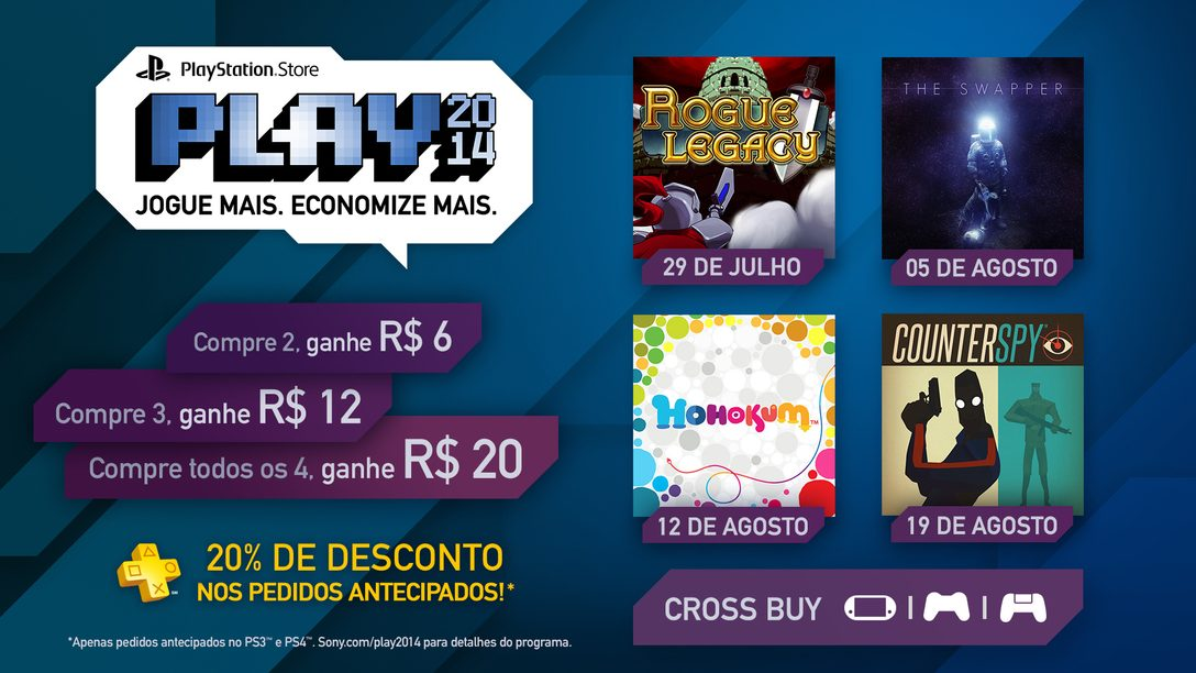 PS Store Play 2014: Novos jogos para Cross-Buy, descontos na pré-venda para PS Plus. Compre mais, economize mais