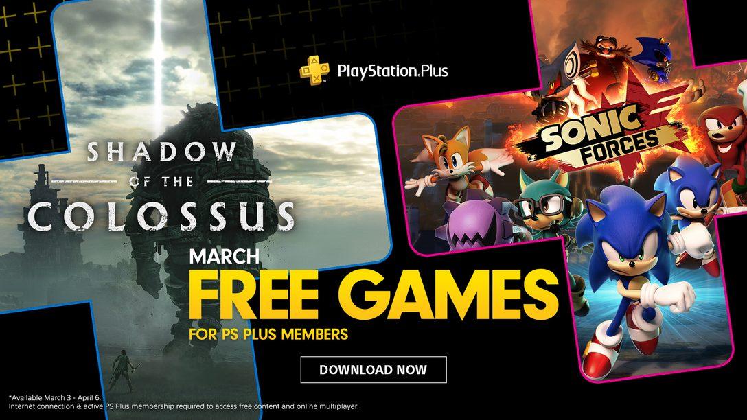 Jogos Gratuitos para PS Plus de Março: Shadow of the Colossus e Sonic Forces
