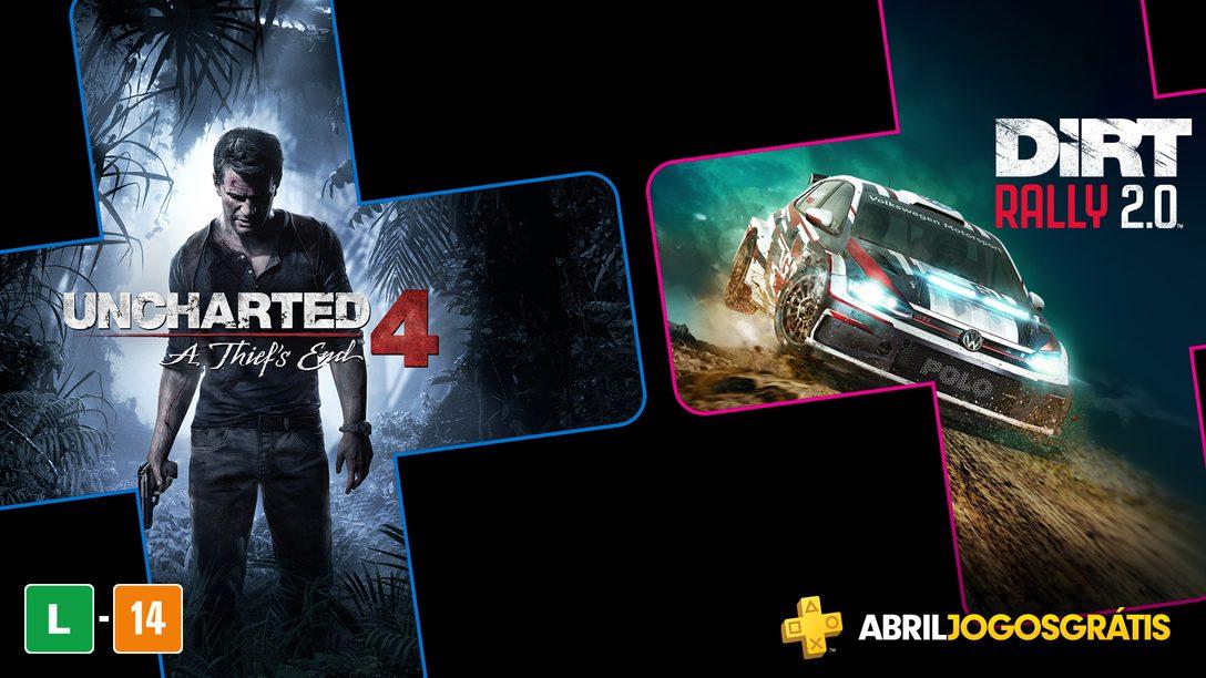 Uncharted 4: A Thief's End e Dirt Rally 2.0 São os Jogos PlayStation Plus de Abril