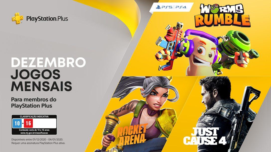 Worms Rumble, Just Cause 4 e Rocket Arena são os seus jogos PlayStation Plus de dezembro