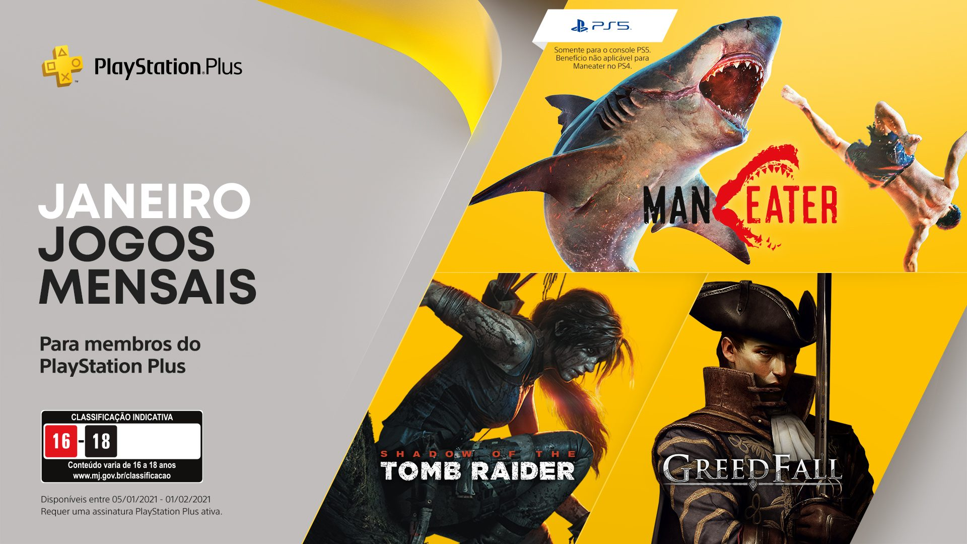 Jogos grátis para assinantes: Maneater, Shadow  of the Tomb Raider e Greedfall.