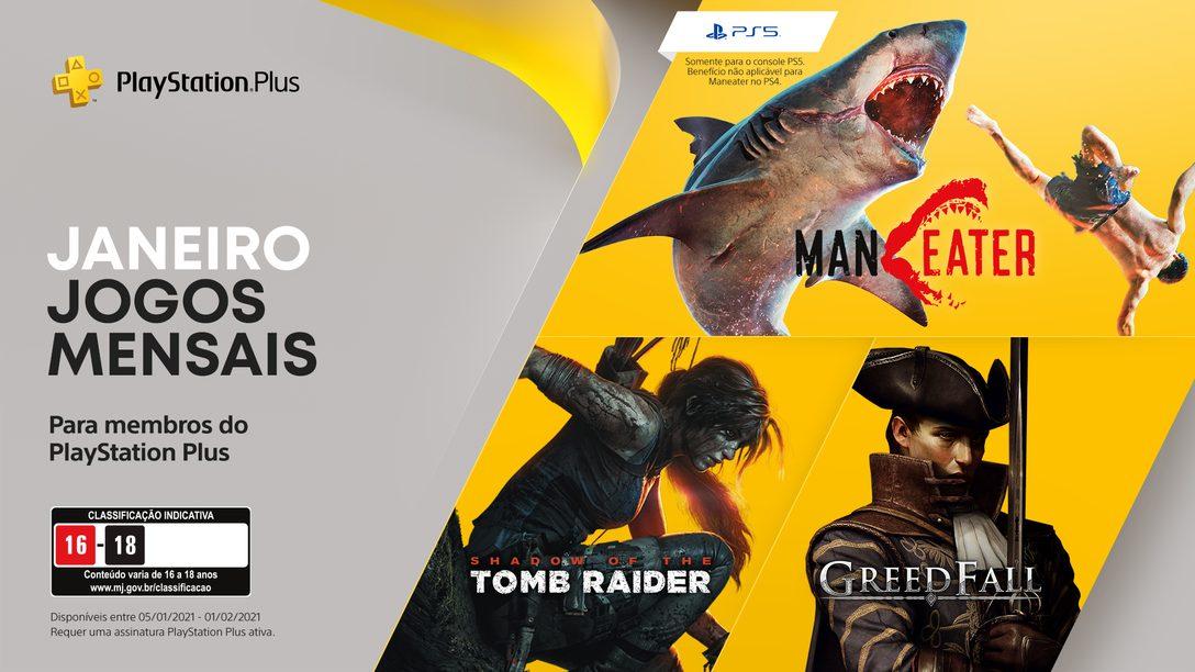 Os jogos do mês de janeiro para membros PlayStation Plus: Maneater, Shadow of the Tomb Raider e Greedfall