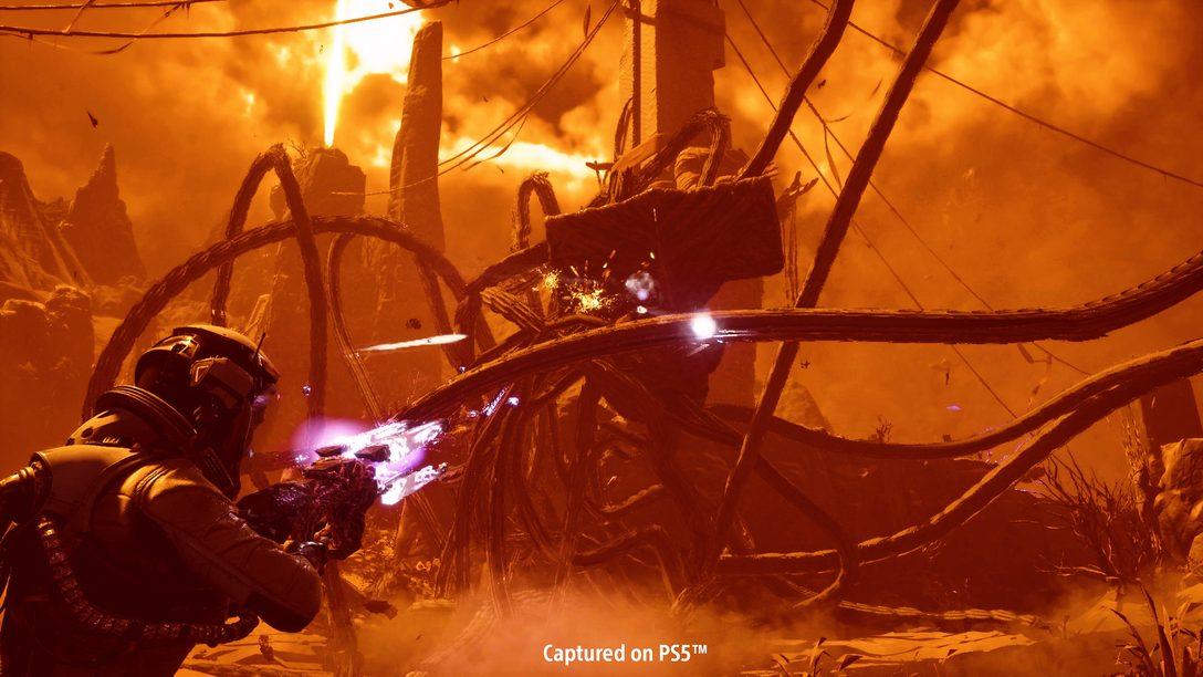 Detalhes do combate de Returnal: Upgrades para armas, ferramentas de outro mundo e buffs arriscados