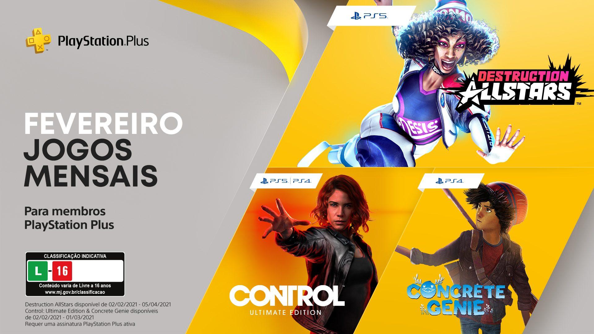 Jogos grátis para assinantes: Destruction AllStars,  Control Edição Ultimate e Concrete Genie.
