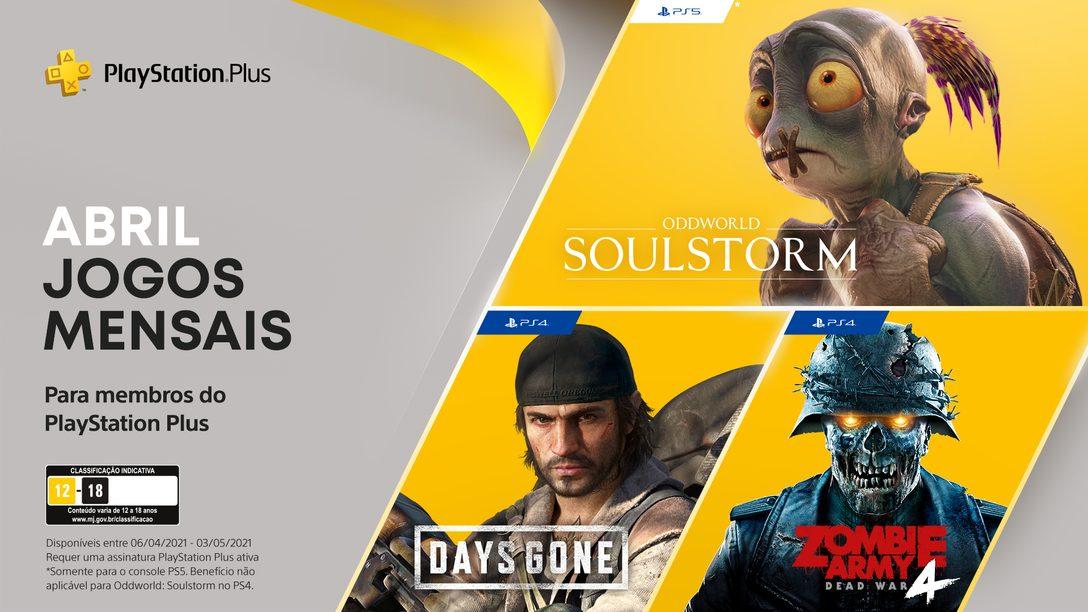 Jogos para membros PlayStation Plus de abril: Days Gone, Oddworld: Soulstorm e Zombie Army 4: Dead War