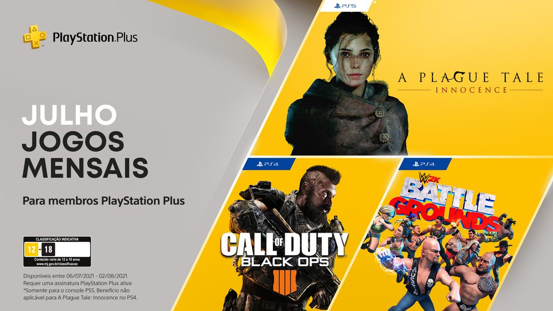 Jogos grátis para assinantes PlayStation Plus: Call of Duty: Black Ops 4,  WWE 2K Battlegrounds, A Plague Tale: Innocence.